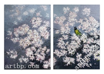 D.Virbickiene Art: Reproduction Large Oil Diptych On Canvas Spring Acrylic Paint By Number Large Canvas Wall Painting Home De