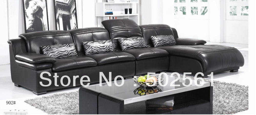 2014 new modern functional real genuine top grain leather corner sofa leisure style living room furniture(China (Mainland))
