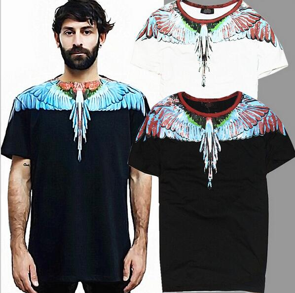 good quality 2016 summer Angel wing Men t shirt 2 color drop Wing feathers Tees short-sleeve T-shirt men t shirt tee(China (Mainland))
