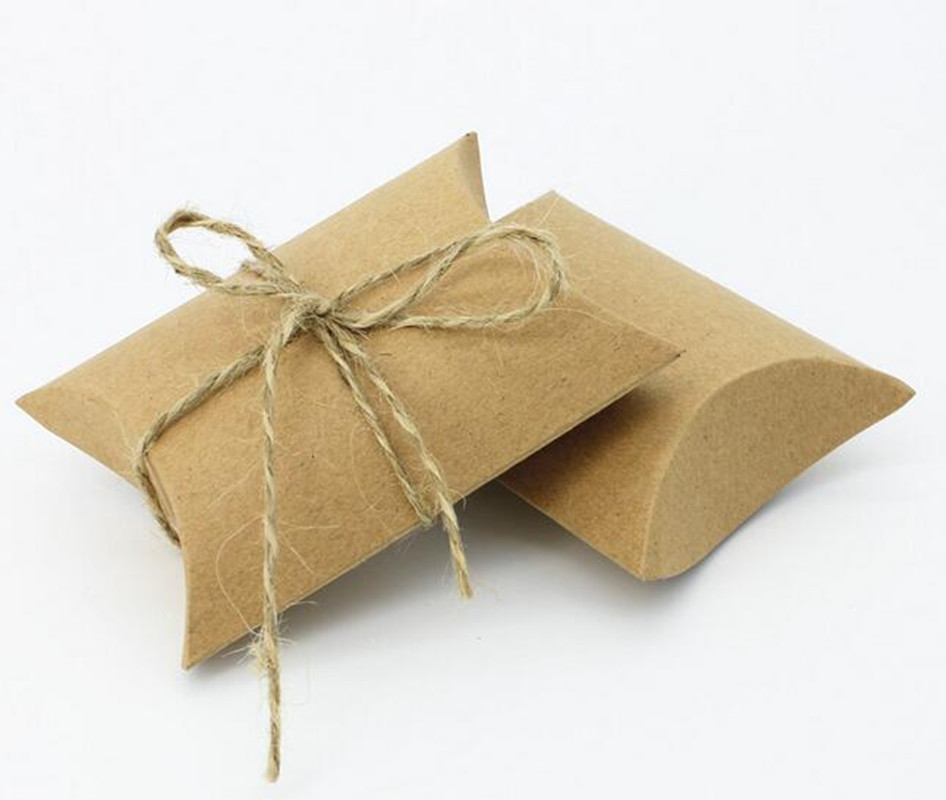 50pcs Hot New Good Kraft Paper Pillow favor Box Wedding Party Favor Gift Candy Boxes(China (Mainland))