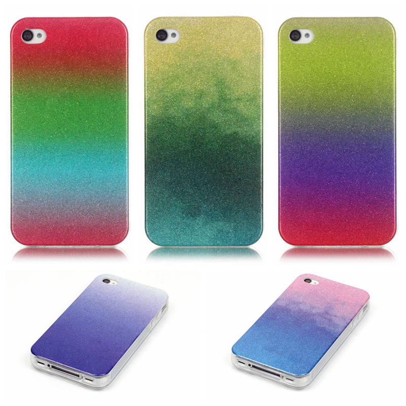 Cell Phone Case For Apple iPhone 4 4s Glitter Bling Fashion Soft TPU Back Cover Colorful Skin,New Arrival(China (Mainland))