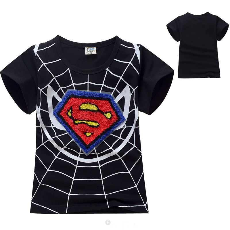 Wholesale new fashion superhero superman spiderman short Boys superhero t shirts