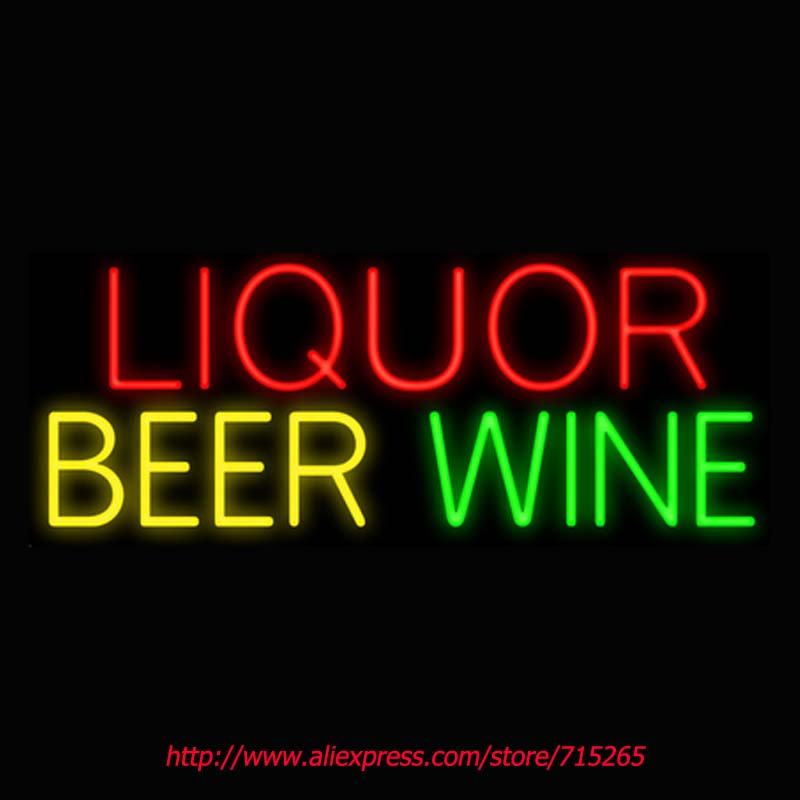 Liquor Beer Wine Neon Sign Board Neon Bulbs Light Guarage Display Real GlassTube Custom Handcrafted Business Light Decorate30x13(China (Mainland))