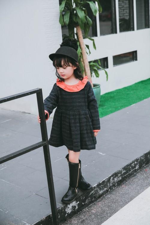Скидки на 2016 новые южнокорейские девушки плюс хлопка с длинным рукавом платье falbala воротник шотландка бесплатная доставка