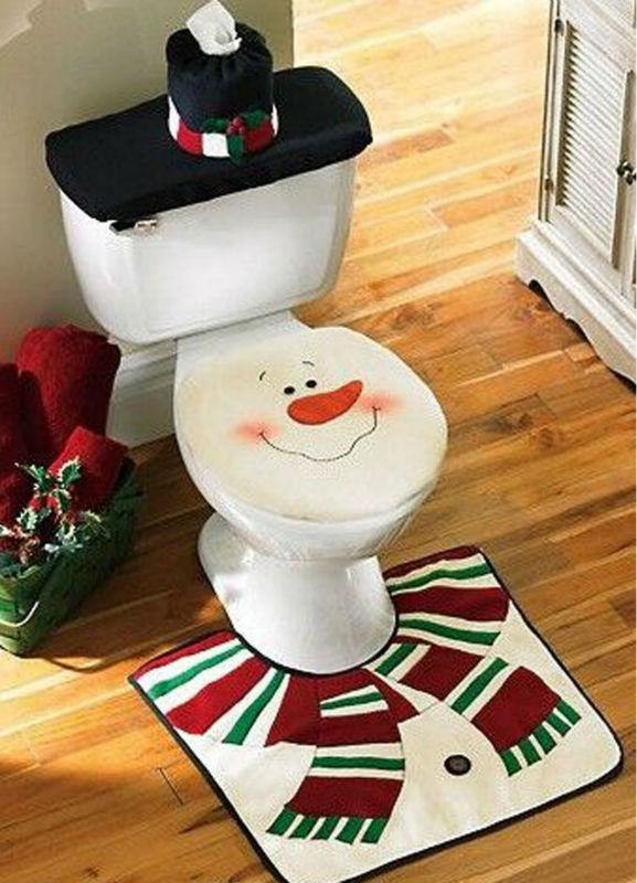 2015 christmas santa snowman toilet seat cover rug for Bathroom ideas for christmas