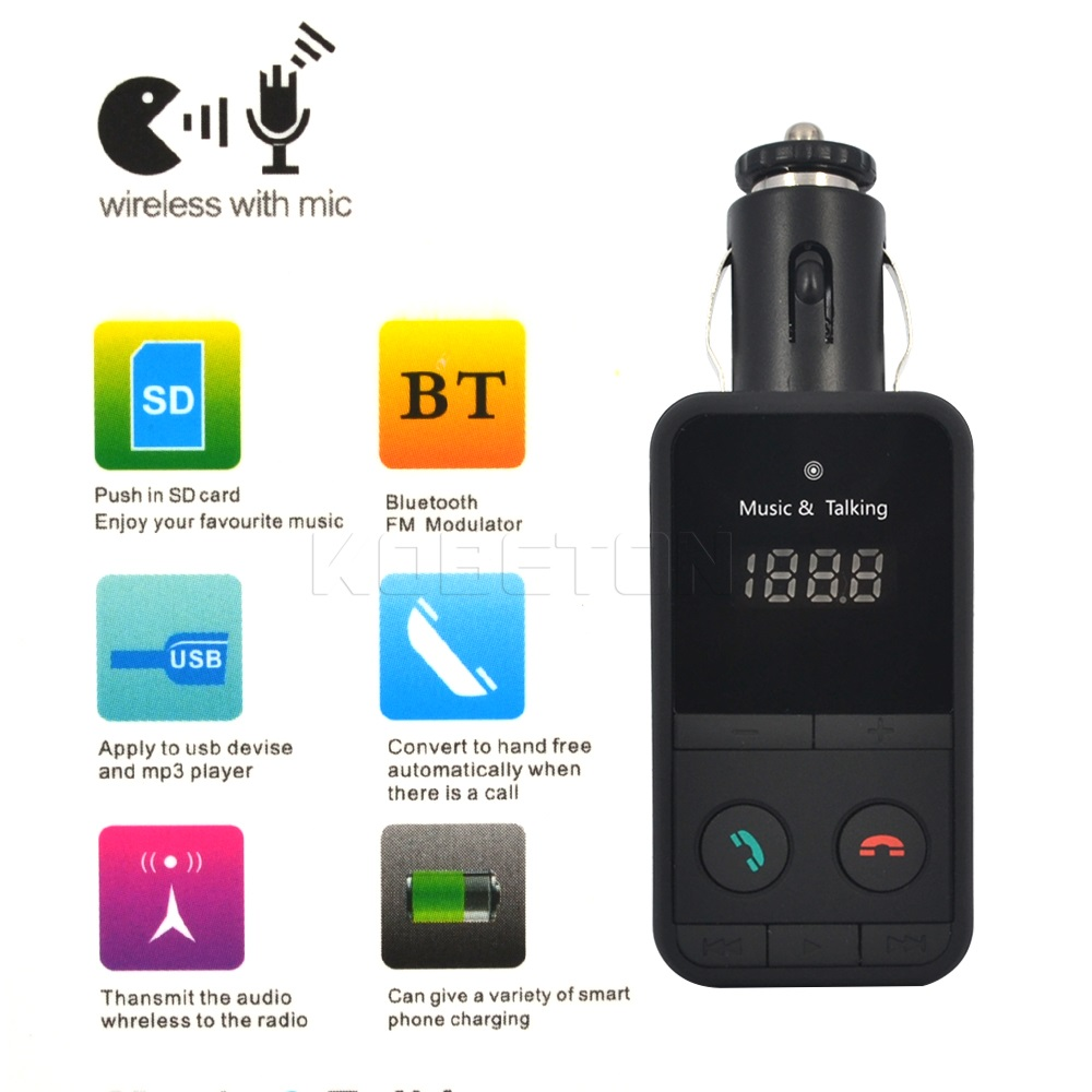 Newest LCD Car Wireless Bluetooth Car Kit Handsfree MP3 Player Bluetooth FM Transmitter Modulator TF SD + USB + Remote Control(China (Mainland))