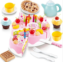 54pcs DIY Cutting Birthday Cake Kitchen Food Toy Children Kids Baby Classic Toy Pretend Play house  Cookware Set(China (Mainland))