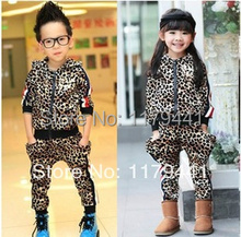 2015 New Arrival Limited Baby free Shipping Autumn/spring Fashion Leopard Skin Suit for Kids Clothing Set ,girls Clothes Set/boy(China (Mainland))
