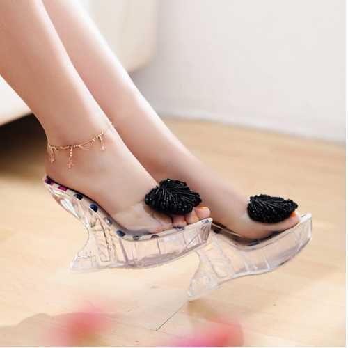 Sexy Open toe Bead Bowtie Patent Wedges Slides 2015 Strange Crystal High Heels Platform Sandals Summer Style Women Shoes Woman(China (Mainland))