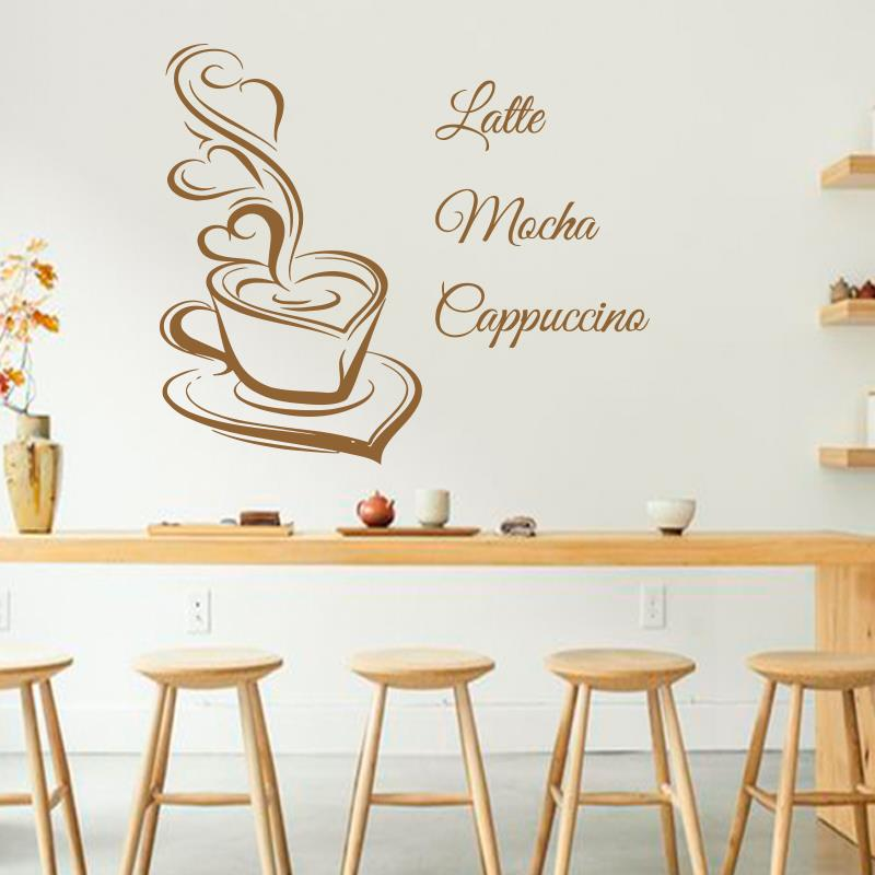 Art design Coffee Wall Decals Latte Mocha Cappuccino Coffee Cup With Love Kitchen Interior Mural Vinyl stickers Cafe in shop(China (Mainland))