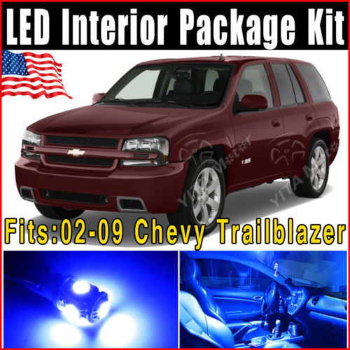 13pcs T10 Car Light Source Replacement Parts Ultra BLue LED Interior Lights Package Kit 2002-2009 for Chevy Trailblazer Hot Sale(China (Mainland))