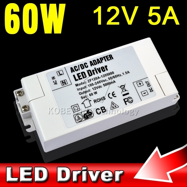 Low Power Consumption 12V 5A 60W LED Driver AC DC Adapter Power Supply 60 Watt Lighting Transformer 100% Full Load Burn-In Test (China (Mainland))