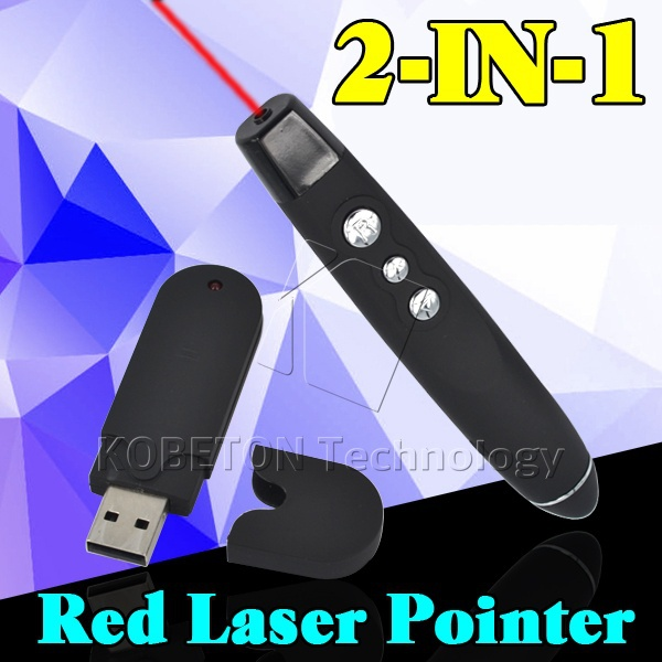 2 in 1 USB Wireless Red Laser Pointer with Clip PPT Presenter Pen RF Remote Control for Office School Powerpoint For Laptop PC(China (Mainland))