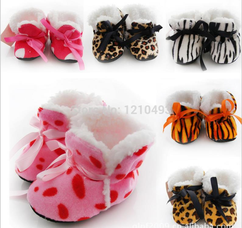 Whosales Lot/12Pairs Winter Thicker Shoes Leopard Print Fleece Baby Toddler Shoes Newborn Baby Anti-slip Floor Warm Boot Booties(China (Mainland))