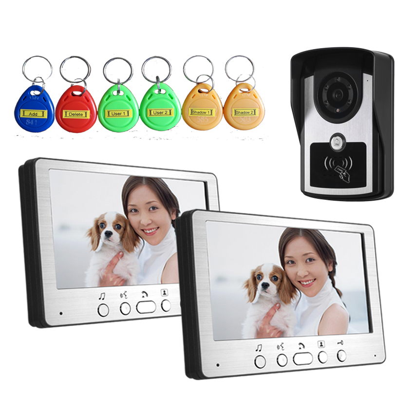 Home Security 1V2 7 inch LCD Video Door Phone Doorbell Intercom Video System with 700TVL IR camera free shipping(China (Mainland))