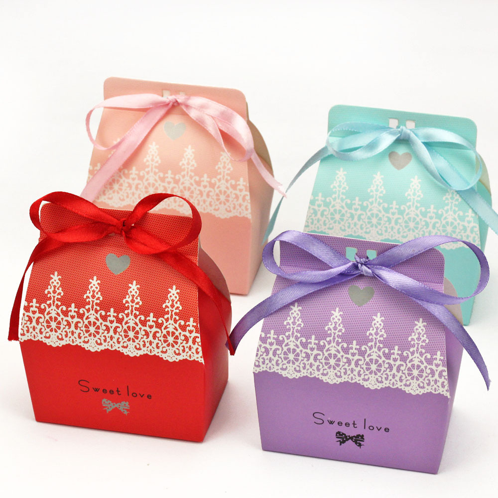 4 colors U pick-100pcs 9.5*8*4.5cm Sweet love Lace printed Paper Favor Box Gift Box For Baby Shower Wedding Favors Box Supplies(China (Mainland))