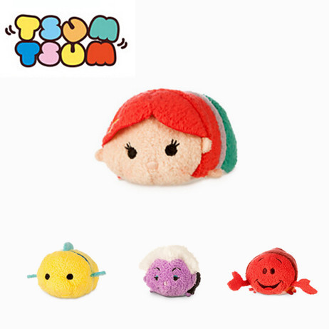 NEW arrival Tsum Tsum Ariel the Little Mermaid , Flounder Fish and small crab mobile screen cleaner plush toys gift(China (Mainland))