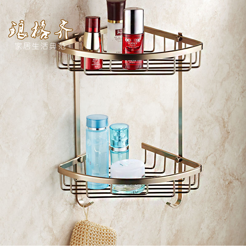 Antique bathroom racks full bathroom double triangle basket basket European copper tripod 16062K(China (Mainland))