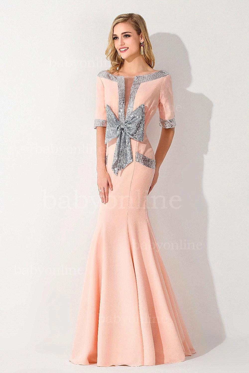 Aliexpress.com  Buy Sequined Coral Formal Sleeve Mermaid Prom Dresses 2015 Bow Pink Long ...