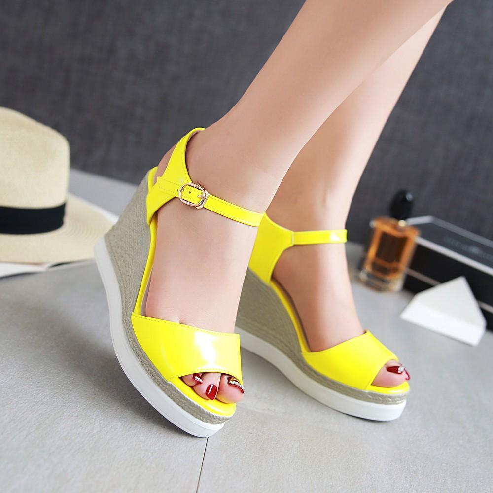Yellow Patent Heels