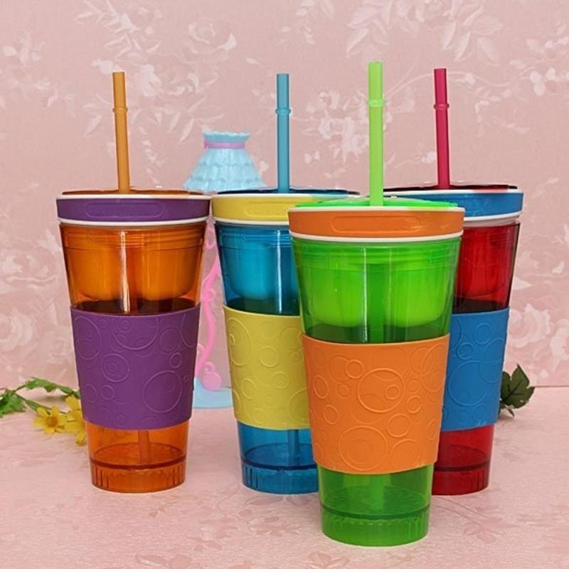 Snackeez Travel Cup Snack drink In One Container Lid Straw Kids Snack bottle(China (Mainland))