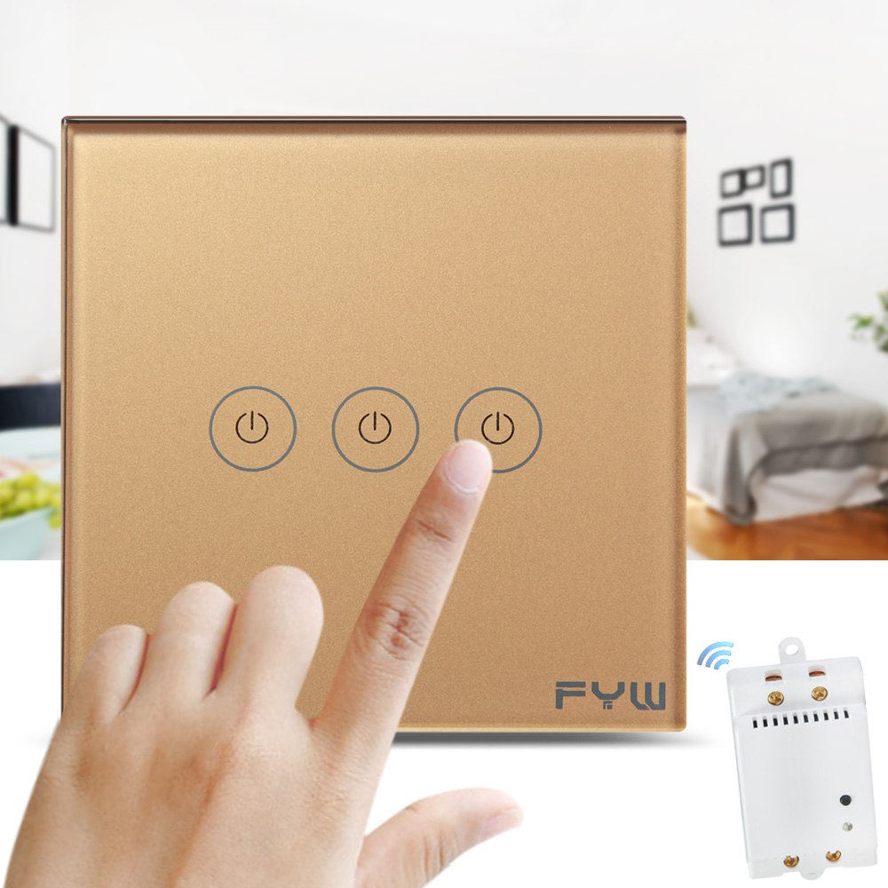 High Quality FYW Touch Remote Control Wall Switch 3 Gang Smart Control On&off Home Supplies Smart Home Automation System(China (Mainland))