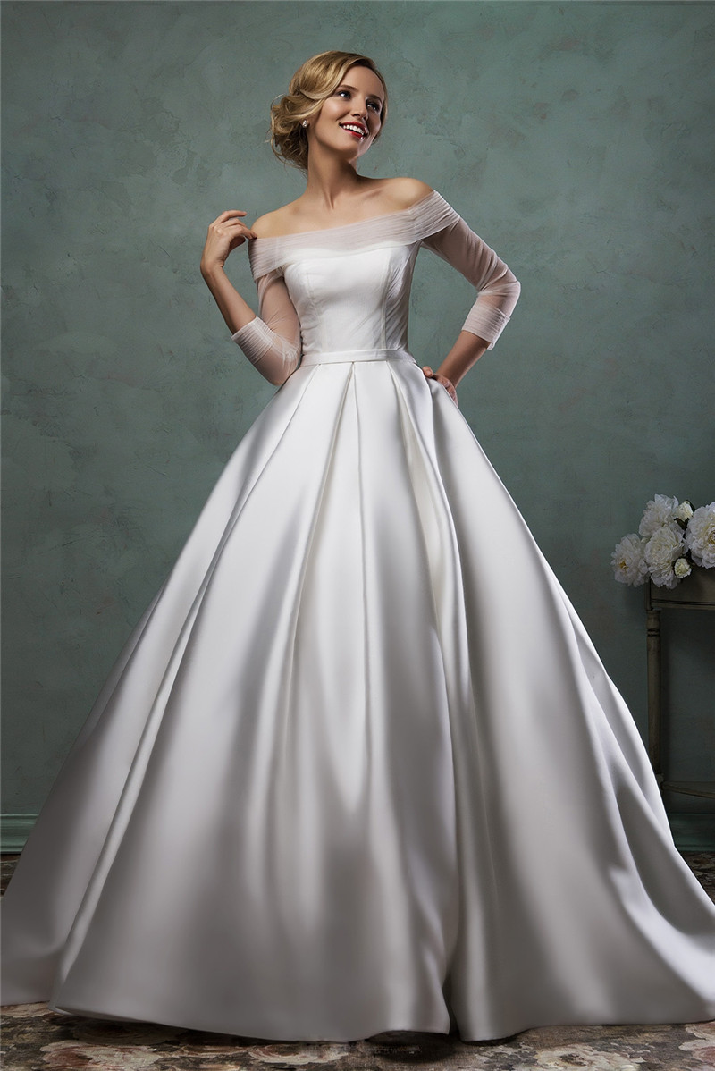 long sleeve satin wedding dress 2015 off the shoulder
