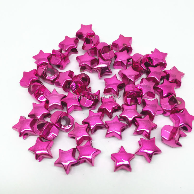 500pcs 11mm Foil Metallic Pink Pony Beads Star Shape Large Hole Lacing Loom Accessory DIY Hair Briads Dummy Clip Bead(China (Mainland))