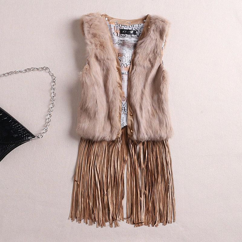 Гаджет  Europe new nobility V collar sleeveless vest hem stitching slim tassel hair coat female None Изготовление под заказ