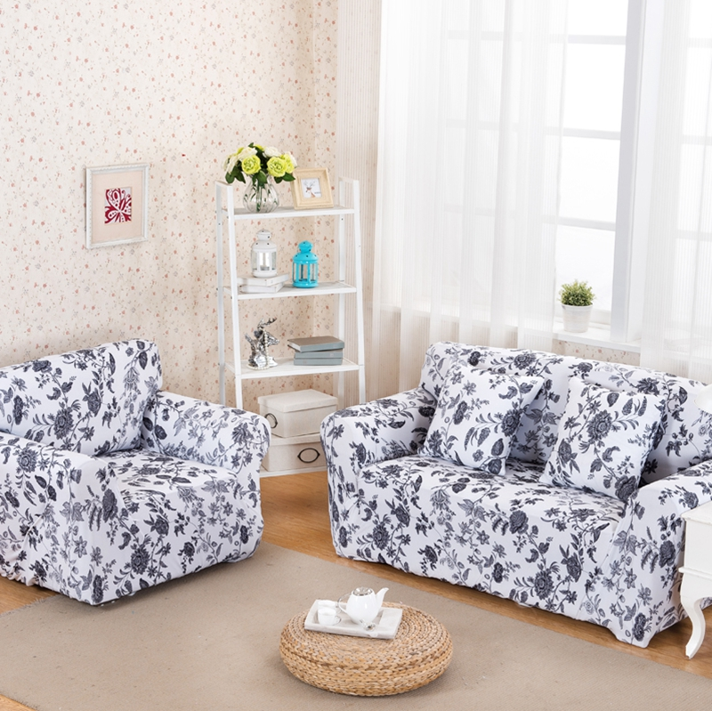 Sofa cover white and black floral slip-resistant cover elastic for sectional sofa full sofa towel Single/Two/Three/Four seats(China (Mainland))