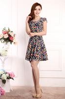летнее платье корейской версии женщин случайные тонкий тонкий летом цветочные платья короткий рукав o Шея печати-Line пляж платье большого размера