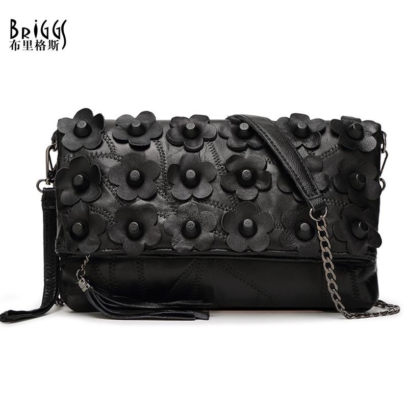 BRIGGS Genuine Leather Women's Shoulder Bag Fashion Patchwork Flower Women Cross Body Bags Black Tassel Tote Lady Messenger Bag(China (Mainland))