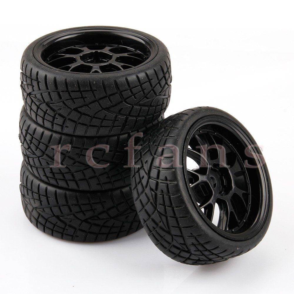 New 4pcs/set RC Tyre Tires and Wheels for HSP HPI 1/10 Scale On Road Car Black<br><br>Aliexpress