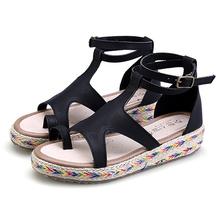 Platform Sandals Black White For Summer Flip Flops Women 2016 Gladiator Sandals With Hemp Rope Woman Wedge Casual Ladies Shoes