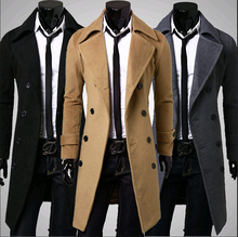 2015 Winter Men Trench Coat British Style Double Breasted Long Coat Men Brand Clothes Outdoors Overcoat Plus SIize XXXL(China (Mainland))