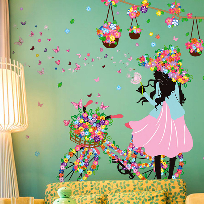 2016 spring wall sticker creative cyclist girl butterfly for Butterfly garden mural