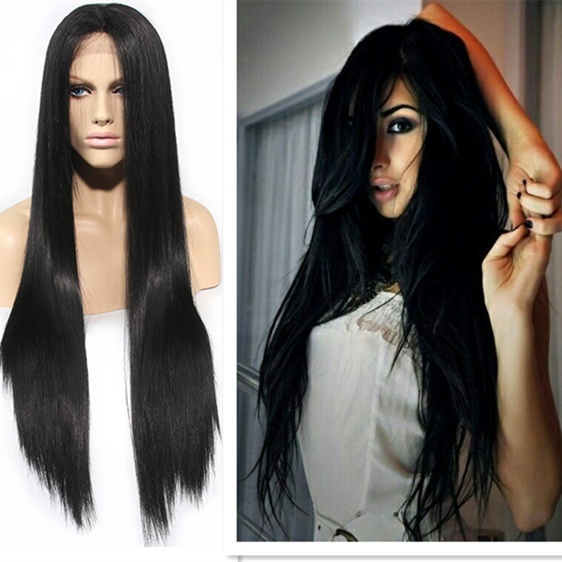 Fashion Hot Selling Long Bouncy Soft straight  Natural Black Heat Resistant Hair Synthetic Lace Front Women Wigs<br><br>Aliexpress