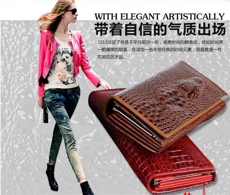 Здесь можно купить  2014 New Genuine leather brand women wallets , Crocodile 3D purse wholesale fashion leather wallets dhl free shipping   Камера и Сумки