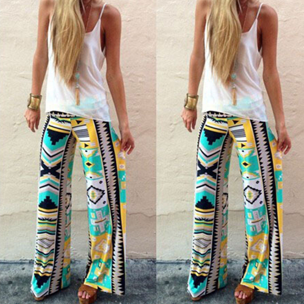 2015 Summer Women Pants Casual High Waist Flare Wide Leg Long Pants Palazzo Trousers Plus Size