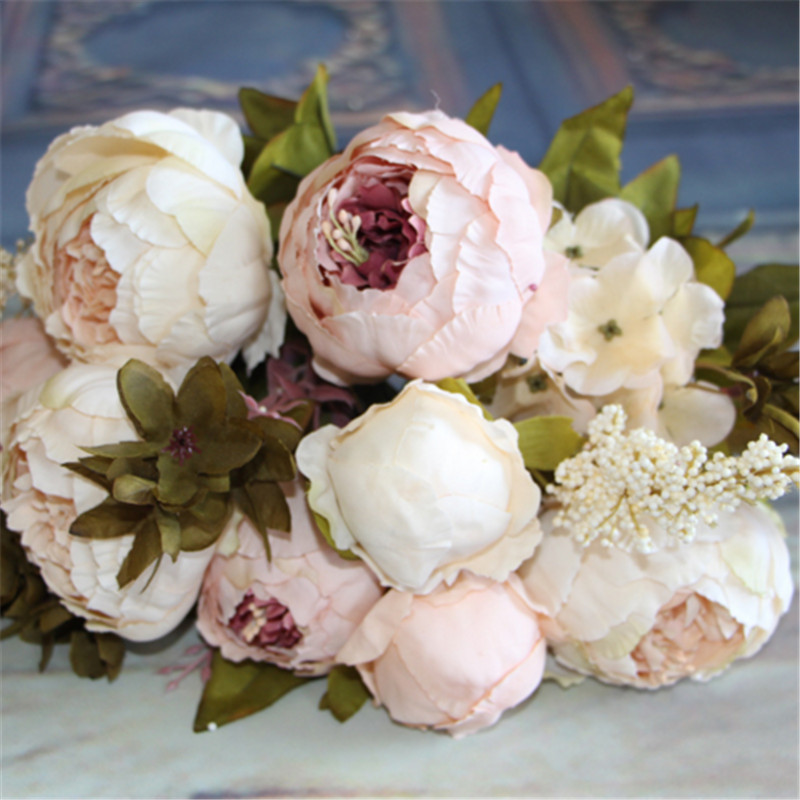 Artificial Flowers Silk flower European Fall Vivid Peony Fake Leaf Wedding Home Party Decoration(China (Mainland))