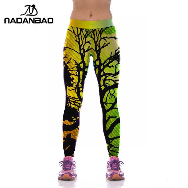Новое поступление женщин спортивные леггинсы высокой упругой ветви деревьев печатных ...
