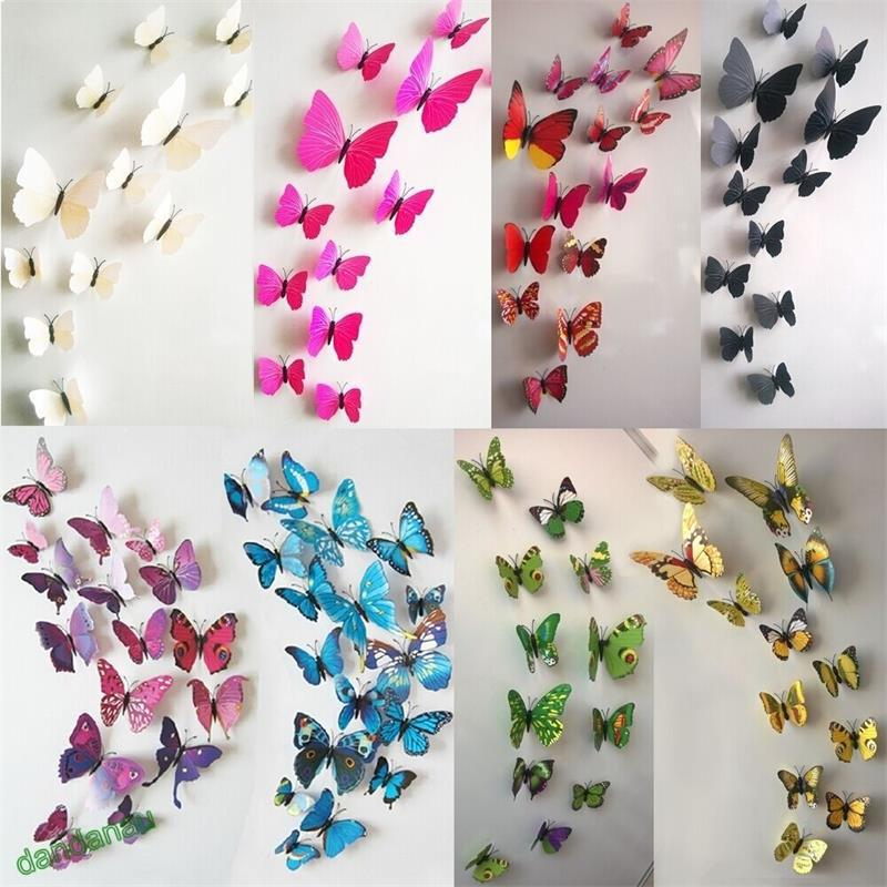 Cute diy 3d butterfly wall stickers decals wall sticker for Butterfly wall mural