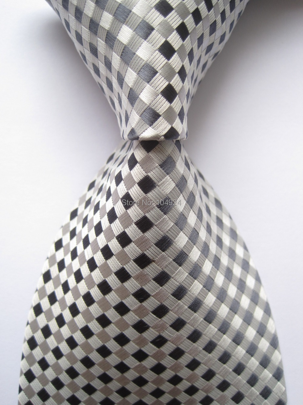 New Classic Plaid Gray JACQUARD WOVEN 100% Silk Men's Tie Necktie A098(China (Mainland))