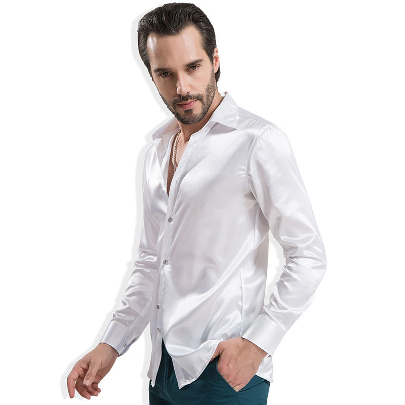 2015 Brand New Fashion Casual Long Sleeve Pure Color Artificial Silk Men Slim Fit Shirts 089qs