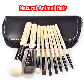TOP Quality! Professional 9 PCS Cosmetics Makeup Brushes Set with Black Zipper Leather Bag, Brand Make Up Brushes, Wholesales