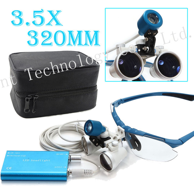 2016  BLUE Dentist 3.5X 320mm Optical Glass Loupe + LED Head Light Lamp+Case Dental Surgical Medical Binocular Loupes