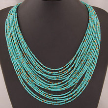 Collier Femme for 2015 Fashion Boho Necklace Women Jewelry Beads Multi-layer Choker Statement Necklaces & Pendants bijoux collar(China (Mainland))