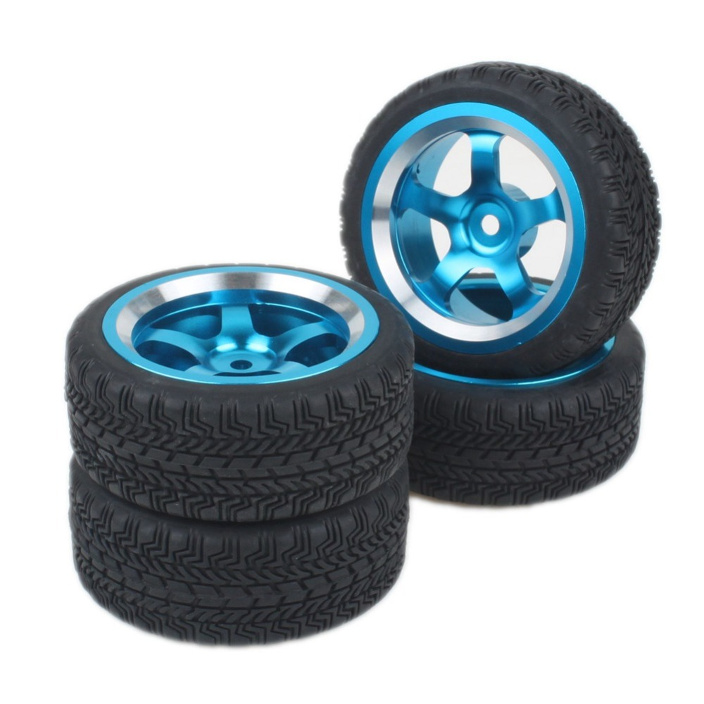 Blue Aluminum Alloy 5 Spoke Wheel Rims & Rubber Tires for RC 1:10 On Road Car(China (Mainland))