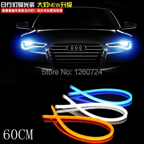 car styling 2x White blue Red yellow green Flexible Tube Style Headlight Headlamp Strip Angel Eye DRL Decorative Light ,parking(China (Mainland))