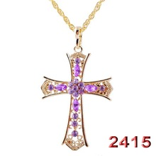 Fashion women cross pendant necklace vintage gold long necklace colorful crystal rhinestone necklace party jewelry accessories(China (Mainland))